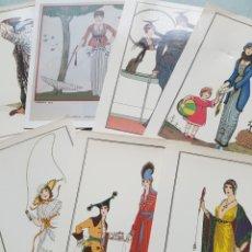Postales: LOTE DE 7 POSTALES MODA VESTIDOS ART DECÓ ART NOUVEAU ARMAND VALLEÉ, V. LHUER, G. BARBIER, E. DRIAN. Lote 212927803