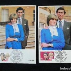Postales: TARJETAS POSTALES 2 DE PRÍNCIPE CARLOS Y LA PRINCESA DIANA 1981. Lote 212934075