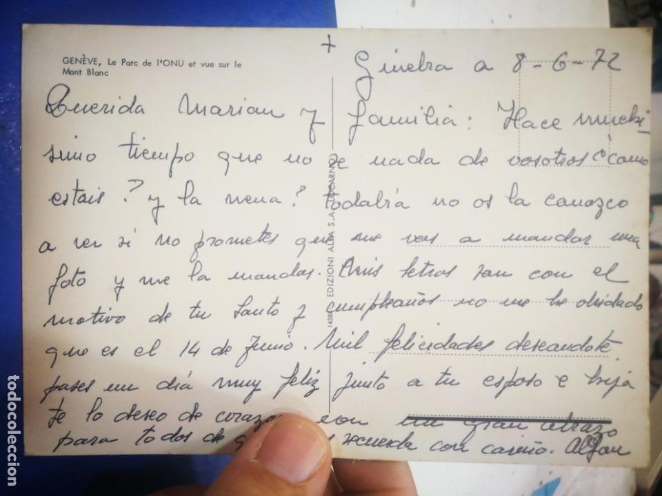 Postales: Postal Génova Geneve Le Parc de LONU et Vue le Montó Blanco 1972 Escrita - Foto 2 - 217675182