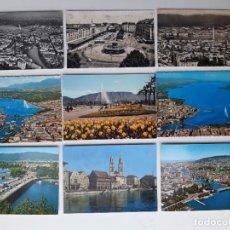 Postales: 9 POSTALES DE GINEBRA Y ZURICH (SUIZA) AÑOS 60.. Lote 221711475