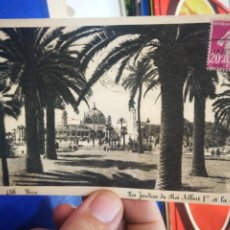 Postales: POSTAL FRANCIA LES JARDINES DU ROI ALBERT I ET LA JETEE CIRCULADA PEQUEÑO ROTO. Lote 221783122