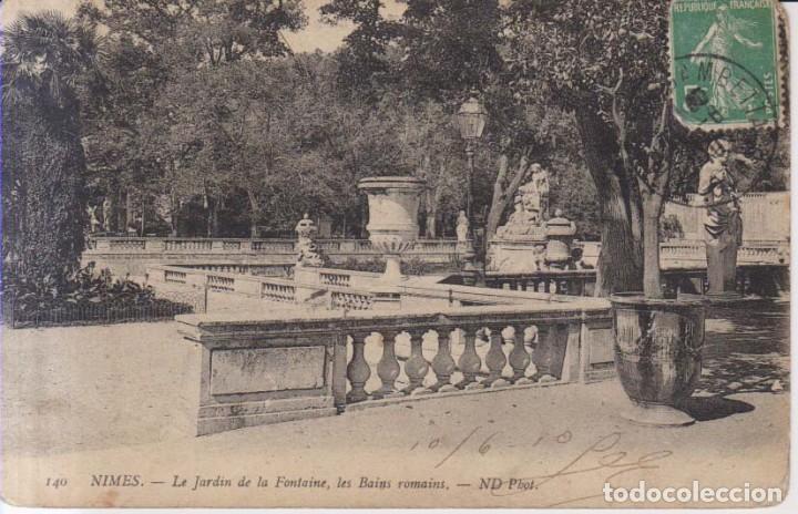 FRANCIA NIMES JARDIN DE LA FUENTE 1910 POSTAL CIRCULADA (Postales - Postales Extranjero - Europa)