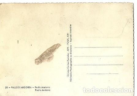 Postales: ANTIGUA POSTAL 28 VALLS ANDORRA RADIO ANDORRA APA - Foto 2 - 222128972