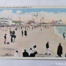 Postales: POSTAL ESCENA EN LA PLAYA, BRIGHTON BEACH, N. Y., CIRCULADA, AÑO 1923. Lote 222354042