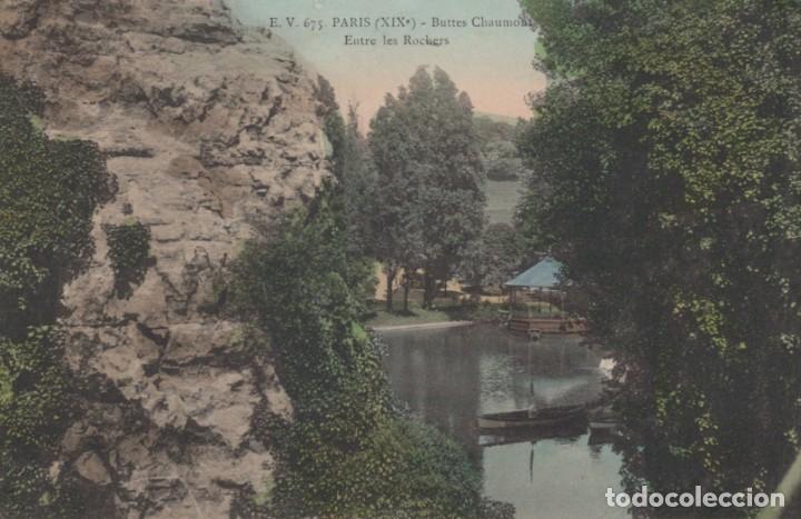 POSTAL PARIS - BUTTES CHAUMONT - ENTRE LES ROCHERS - CIRCULADA (Postales - Postales Extranjero - Europa)