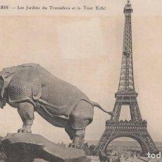 Postales: POSTAL PARIS - LES JARDINS DU TROCADERO ET LA TOUR EIFFEL - CIRCULADA. Lote 222630061