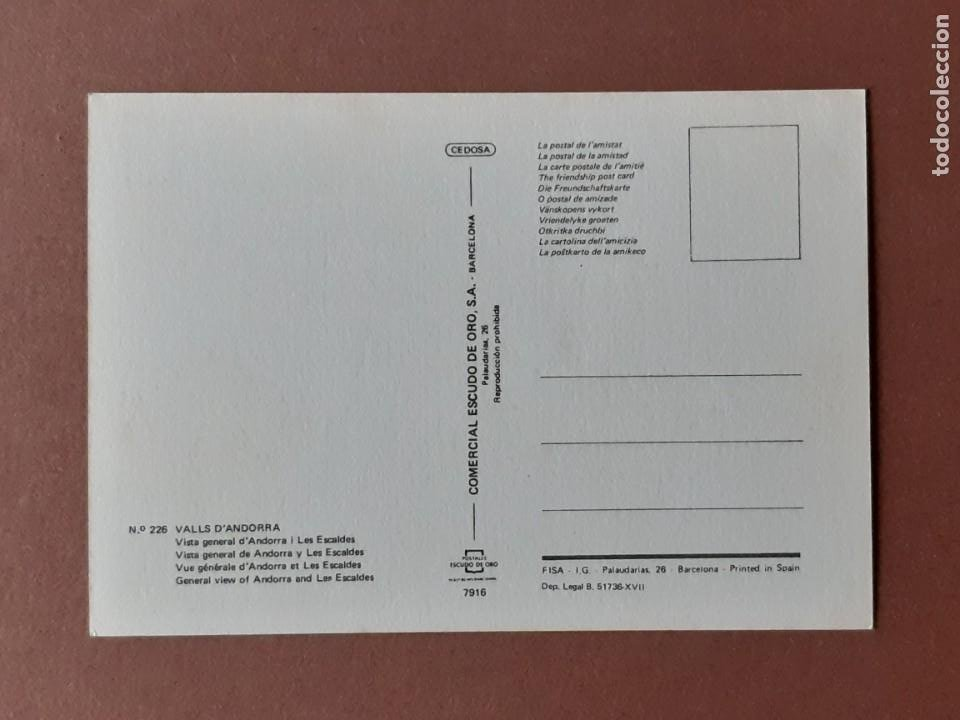 Postales: POSTAL 226 ESCUDO DE ORO. FISA. ANDORRA I LES ESCALDES. VALLS D´ANDORRA. 1974. SIN CIRCULAR. - Foto 2 - 230576220
