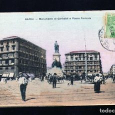 Postales: ANTIGUA POSTAL DE NAPOLES (ITALIA) MONUM.GARIBALDI PZA.FERROVIA CIRCULADA EN 1926. Lote 233494195