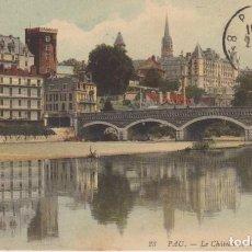 Postales: FRANCIA PAU EL CASTILLO Y EL PUENTE 1908 POSTAL CIRCULADA. Lote 234543990