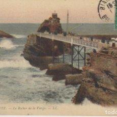 Postales: FRANCIA BIARRITZ LA ROCA DE LA VIRGEN 1908 POSTAL CIRCULADA. Lote 234850365