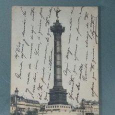 Postales: POSTAL 55 . PARIS PLACE DE LA BASTILLE ET COLONNE DE JUILLET. FECHA: 04/08/1904.. Lote 236999455