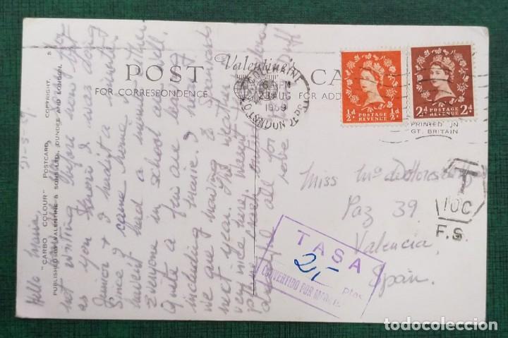 Postales: IRLANDA DEL NORTE POSTAL CIRCULADA RAMORE HEAD AND RECREATION GRUND, PORTRUSH, 2 SELLOS GB 1959 - Foto 2 - 240229600