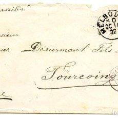 Postales: 1992. CARTA DE MELBOURNE, AUSTRALIA, A TOURCOING, FRANCIA. SELLO 2Y1/2 PENIQUES DE VICTORIA. Lote 254621490