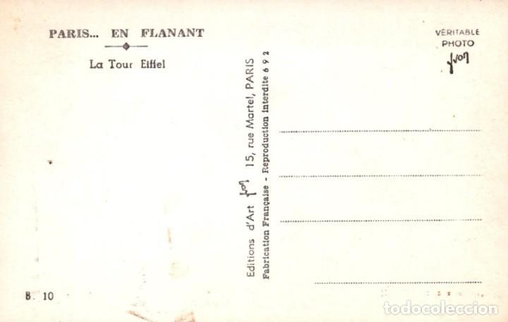 Postales: POSTAL PARIS EN FLANANT - LA TOUR EIFFEL - EDITIONS DART - YVON - Foto 2 - 260321755