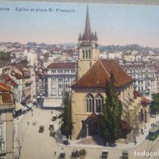 Postales: LAUSANNE -EGLISE ET PLACE ST. FRANCOIS. Lote 261641075