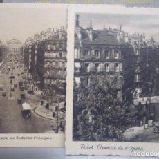 Postales: PARIS - LOTE DOS POSTALES - AV DE LA OPERA , PLAZA DEL TEATRO FRANCES. Lote 261641610