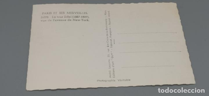 Postales: PARIS ET SES MERVEILLES - ED. GUY - Nº 3076 - TORRE EIFFEL VISTA DESDE LA AVENIDA DE NEW-YORK - Foto 2 - 262854615