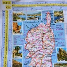 Postales: POSTAL DE FRANCIA. REGIONES FRANCESAS. MAPA PLANO MONUMENTOS. CÓRCEGA. 67. Lote 262930965