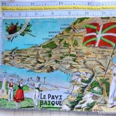 Postales: POSTAL DE FRANCIA. REGIONES FRANCESAS. MAPA PLANO MONUMENTOS. EL PAIS VASCO. 69. Lote 262931145