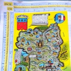 Postales: POSTAL DE FRANCIA. REGIONES FRANCESAS. MAPA PLANO MONUMENTOS. AVEYRON. 70. Lote 262931235