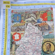 Postales: POSTAL DE FRANCIA. REGIONES FRANCESAS. MAPA PLANO MONUMENTOS. HAUT RHIN BELFORT. 71. Lote 262931355
