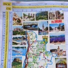 Postales: POSTAL DE FRANCIA. REGIONES FRANCESAS. MAPA PLANO MONUMENTOS. DROME. 72. Lote 262931390