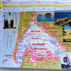 Postales: POSTAL DE FRANCIA. REGIONES FRANCESAS. MAPA PLANO MONUMENTOS. BASSIN D'ARCACHON, FARO. 75. Lote 262931720