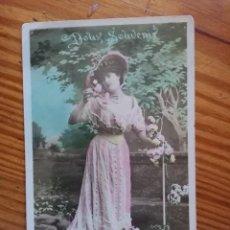 Postales: ANTIGUA TARJETA POSTAL FRANCESA COLOREADA A MANO-J.C. PARIS. CIRCULADA 7/6/1909. BUEN ESTADO.. Lote 267084739