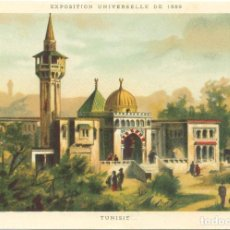 Postales: CROMOLITOGRAFIA. PARIS 1889 EXPOSICION UNIVERSELLE. TUNISIE.. Lote 269167853