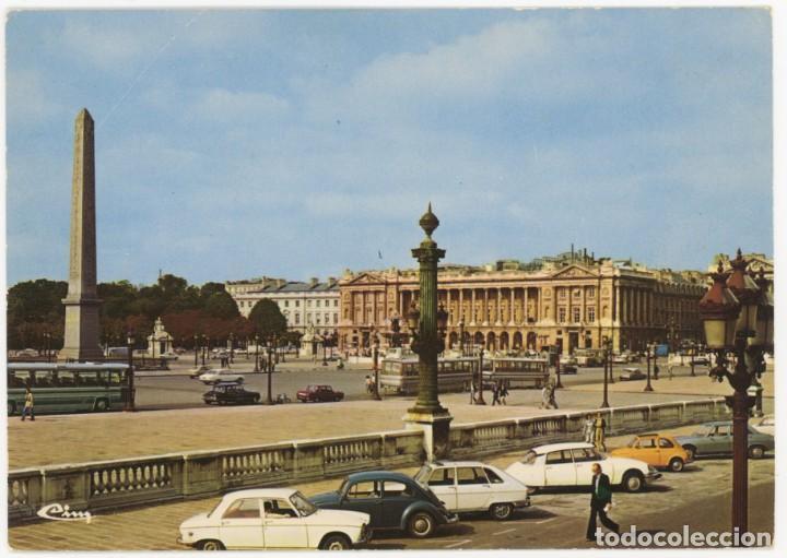 EX065 FRANCIA PARIS PLACE DE LA CONCORDE ED MACON CITROEN DS R6 FIAT 600 PEUGEOT (Postales - Postales Extranjero - Europa)