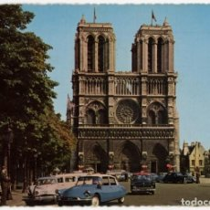 Postais: EX069 FRANCIA PARIS LA FAÇADE DE NOTRE DAME ED LECONTE CITROEN DS SIMCA ARIANE,ARONDE,PEUGEOT 203. Lote 271375843