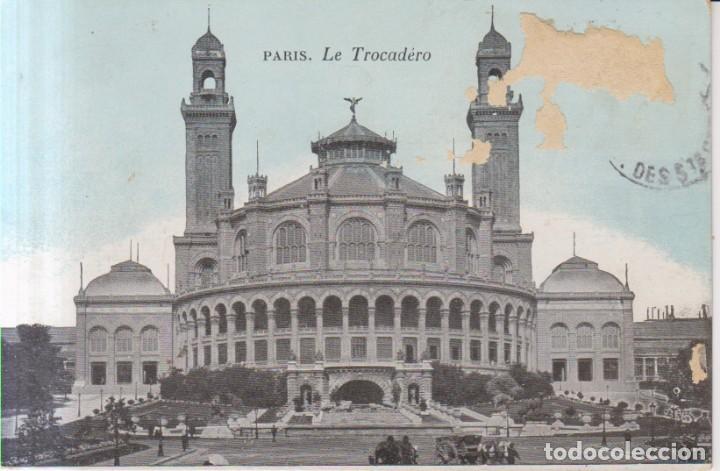 FRANCIA PARIS LE TROCADERO 1910 POSTAL CIRCULADA (Postales - Postales Extranjero - Europa)