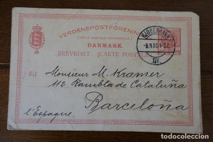 DANEMARK / DANMARK - CARTE ENTIER POSTAL 10 ORE BREVKORT VERDENSPOSTFORENINGEN POUR BARCELONA (Postales - Postales Extranjero - Europa)