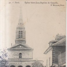 Postales: FRANCIA PARIS IGLESIA SAN JUAN BAUTISTA DE GRENELLE 1905 POSTAL CIRCULADA. Lote 277721778