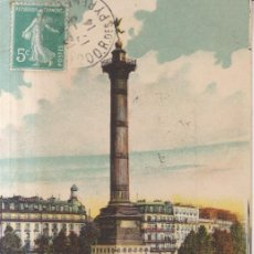 Postales: FRANCIA PARIS LA PLAZA DE LA BASTILLA CARTA POSTAL ANIMADA 1914 POSTAL CIRCULADA. Lote 277722183