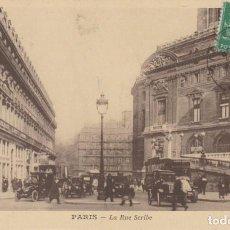 Postales: FRANCIA PARIS LA CALLE SCRIBE CARTA POSTAL ANIMADA 1923 POSTAL CIRCULADA. Lote 277722298
