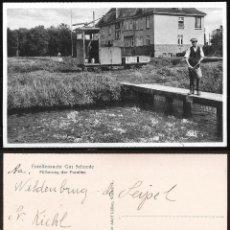 Postales: 1464 - ALEMANIA SALZHAUSEN / FORELLENZUCHT GUT SCHNEDE FÜTTERUNG DER FORELLEN - POSTAL 1937. Lote 278936363