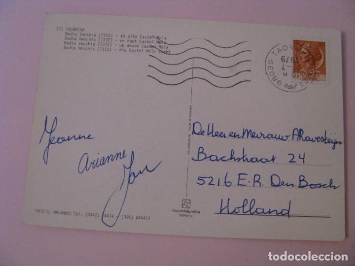 Postales: POSTAL DE ITALIA. TAORMINA, BADIA VECCHIA. CIRCULADA 1979. - Foto 2 - 280111358