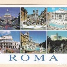 Postales: ROMA (ITALIA). SAN PEDRO, PLAZA DE ESPAÑA, FONTANA DE TREVI, COLISEO ..... Lote 288077303