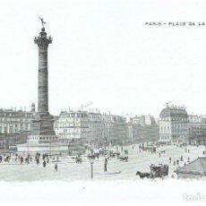 Postales: FRANCIA, POSTAL ANTIGUA, PARIS, PLACE DE LA BASTILLE, SIN CIRCULAR,. Lote 288391133