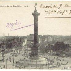 Postales: FRANCIA, POSTAL ANTIGUA, PARIS, PLACE DE LA BASTILLE, SIN CIRCULAR,. Lote 288391368