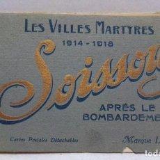 Postales: ÁLBUM COMPLETO CON 20 POSTALES LES VILLES MARTYRES (1914-1918).SOISSONS.NO ESCRITAS.. Lote 288862113
