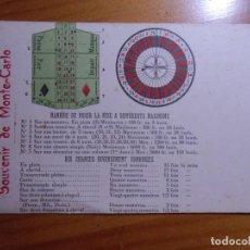 Postales: MONTE-CARLO(MONACO)POSTAL S/C.C.A.1905. INSTRUCCIONES JUEGO RULETA.. Lote 289350848