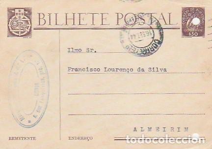 PORTUGAL & BILHETE POSTAL, MARQUES & RODRIGUES LDA, LISBOA A ALMEIRIM 1944 (34445 (Postales - Postales Extranjero - Europa)