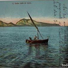Postales: ITALIA, CAPRI L'ISOLA VISTA DA MARE. GALLERÍA UMBERTO. CIRCULADA MADRID LEÓN 1918. Lote 289901118
