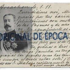 Postales: (PS-66581)POSTAL MANUSCRITA DE JUAN PEDRO ALADRO Y KASTRIOTA DESCENDIENTE DEL HEROE DE ALBANIA. Lote 295722163