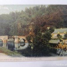 Postales: POSTAL LES BORDS DE RANCE, PUENTE DE LEON, CIRCULADA 1913, COLOREADA. Lote 296713943
