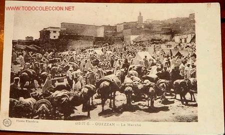 ANTIGUA POSTAL DE GUEZZAN, EL MERCADO - PROTECTORADO ESPAÑOL EN MARRUECOS (Postales - Postales Temáticas - Ex Colonias y Protectorado Español)