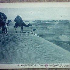 Postales: POSTAL ARABE - 14 - MARRUECOS - CARABANA EN EL DESIERTO . Lote 26030151