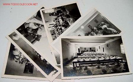 LOTE DE 6 ANTIGUAS FOTOGRAFIAS NIÑOS HUERFANOS EN COMEDOR DEL ORFANATO FRANCO EN MELUSA - MELLOUSSA (Postales - Postales Temáticas - Ex Colonias y Protectorado Español)
